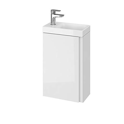 VBChome Das Moduo-Set Slim Weiß 40 cm Waschplatz Badmöbel Hochglanz Oberfläche Kleines Gästebad Bestehend aus Waschplatz und Waschbecken Schmale Badezimmermöbel für Gäste WC