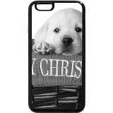 iPhone 6S Plus Coque, iPhone 6Plus Coque (Noir et Blanc)-Rouge chiot merru Golden Panier pour chien de Noël pour animal Adorable