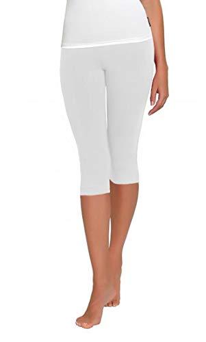 FUNGO Leggings Für Damen 3/4 Länge Capri Damen Sporthose Bunte Yoga Leggins (40, Weiß) -