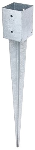 GAH-Alberts 211318 Einschlag-Bodenhülse für Vierkantholzpfosten - feuerverzinkt, 101 x 101 mm / 900 mm