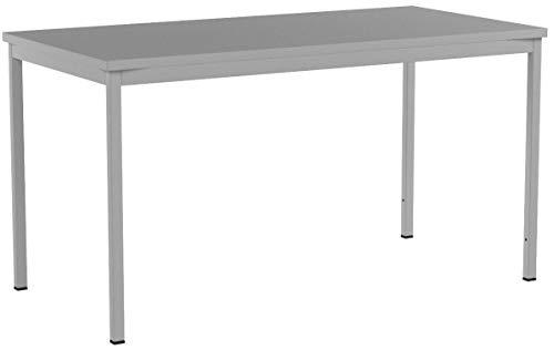 Furni 24 Schreibtisch Seminartisch 140 cm x 70 cm x 75 cm grau Verschiedene Größen schöner Stabiler PC-Tisch mit viel Beinfreiheiten