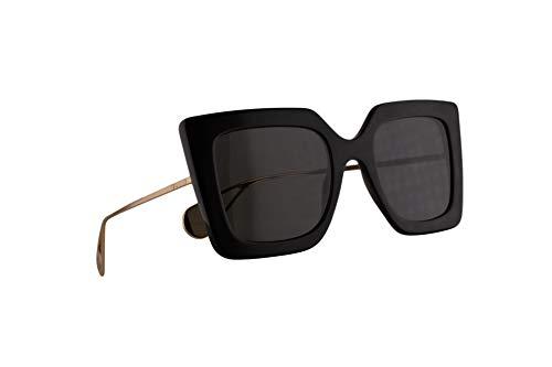 Gucci GG0435S Sonnenbrille Schwarz Gold Mit Grauen Gläsern 51mm 001 GG0435/S 0435/S GG 0435S