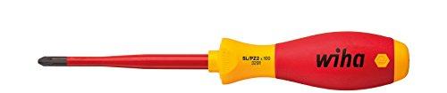 Wiha Schraubendreher SoftFinish® electric slimFix PlusMinus/Pozidriv (36330) SL/PZ2 x 100 mm für tiefliegende Schrauben, ergonomischer Griff für kraftvolles Drehen, Allrounder für Elektriker, VDE-geprüft, stückgeprüft