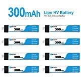 BETAFPV 8pcs 300mAh 1S Lipo Battery HV Battery 30C 4.35V with JST-PH 2.0 Powerwhoop Connector for Tiny Whoop Blade Inductrix Micro Mini Drone 57 Micro Mini