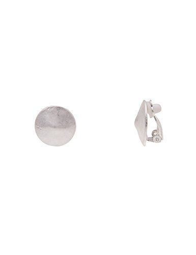 Leslii Damen-Ohrringe Ohr-Clips Simple Matt silberne Ohrringe Clipse Klipp Modeschmuck-Ohrringe Ø 1,7cm in Silber Matt