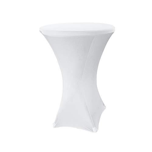 Hengda Stehtischhusse Stehtisch hussen Stretchhusse Weiß Größe:Ø 80-85 cm Universal Tischhusse Stehtischüberzug Husse für Stehtische überwurf für Bistrotisch/Stehtisch Hochzeiten und Feiern