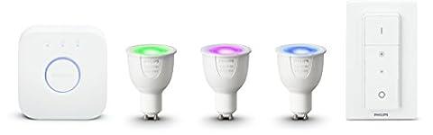 Philips Hue Kit de démarrage 3 ampoules White & Color GU10 + pont de connexion + télécommande Hue incluse (New)