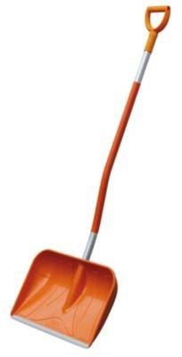 CEMO GFK-Schneeschaufel mit D-Griff, Orange-silber, 161 cm