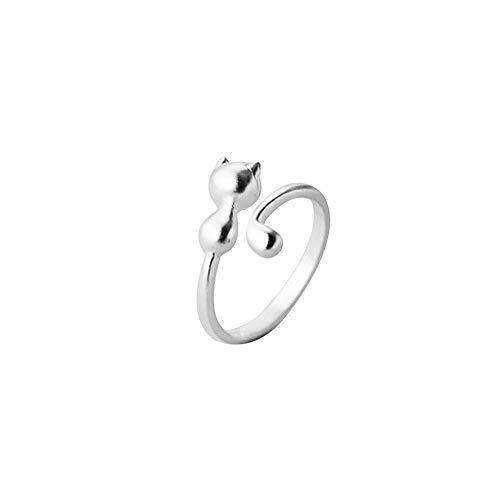 Anillo de plata del gato 925 Gato lindo del anillo animal lindo de la forma animal de apertura del anillo anillos ajustables para los regalos de cumpleaños muchachas de las mujeres de plata del aniv