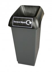 50LTR GENERAL WASTE RECYCLING BIN WITH BLACK LID & GENERAL LOGO BY CHABRIAS LTD