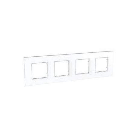 plaque schneider electric altira icône - 4 postes - entraxe 71 mm - blanc polaire