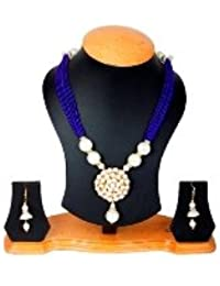 Jewellery Expert Blue Colour Pearls Necklace Set For Women