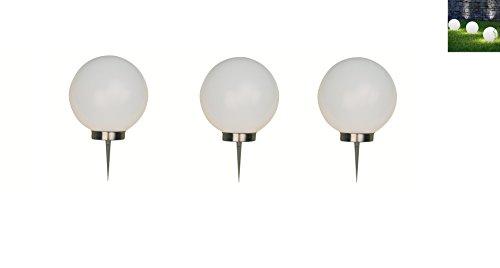 3 x LED-Solarleuchte Gartenleuchte Kugelleuchte MARA 20+20+20 mit Erdspieß Bodenleuchte Dekoration wahlweise umschaltbar zwischen LED kaltweiß und farbwechselnd (Durchmesser 20cm)