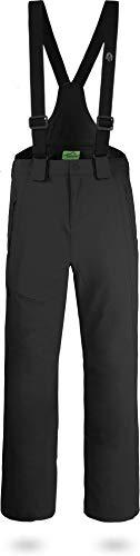 normani Outdoor Sports Herren Winter Softshellhose gefüttert mit abnehmbaren Hosenträgern und 4-Wege-Funktionsstretch [S-4XL] Farbe Schwarz Größe L/52
