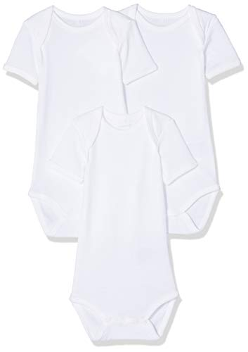 save off 1cd7e 45ee1 NAME IT Unisex Baby Strampler NBNBODY 3P SS SOLID White NOOS, 3er Pack, Weiß