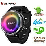 LEMFO LEM8 - Android 7.1.1 4Gorologio intelligente, Fotocamera da 2 MP di Watch Phone, MT6739,2GB + 16GB, Batteria 580Mah Bluetooth/GPS / Cuore Rate Monitor per uomini Donne (Nero)