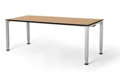 mauser Rechtecktisch, Fußform Quadratrohr - HxBxT 650 – 850 x 1800 x 800 mm, Vollkernplatte, Gestell alufarben - Tischsysteme Bürotische...