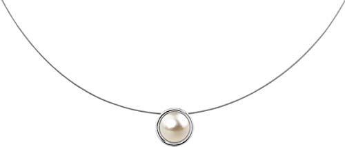 petra kupfer Kurze Damen Kette Anhänger Schwebender Stein Swarovski Perle Creme - stah1-cream-pearl