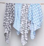 Ikat Bleu/gris d'emmaillotage en mousseline couvertures Lot de 4