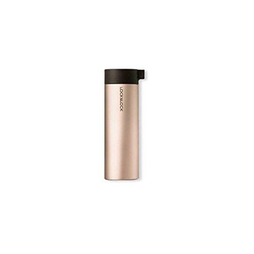 LOCK & LOCK Edelstahl Trinkflasche - KNOB VACUUM BOTTLE - Thermobecher to go auslaufsicher - Vakuum Isolierflasche für Kaffee, Tee & Kaltes, 400ml Gold-Pink -