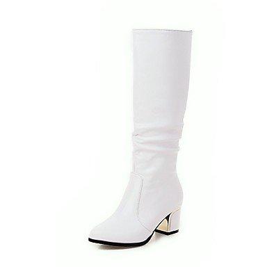 Rtry Femmes Chaussures Similicuir Mode Hiver Bottes Chunky Bottes Talon Bout Rond Mi-mollet Bottes Pour Vêtements De Sport Blanc Noir Us9 / Eu40 / Uk7 / Cn41