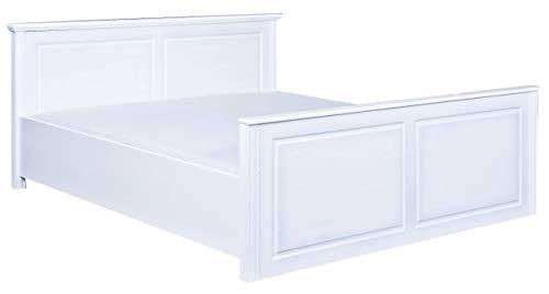 H24living Edles Doppelbett 160 x 200cm Echtholz für Ihr Schlafzimmer weiß