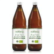 100% Aloe Vera Bio Direktsaft, 2x1.000 ml Flasche enthält 1200mg/Liter Aloverose, Aloe Barbadensis Miller, 100% Innenfilet, handfiletiert