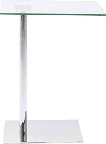 Kare Design Beistelltisch West Coast, Couchtisch mit Glasplatte, Laptoptisch in Chrom, Kaffeetisch, kleiner Arbeitstisch, Grau (H/B/T) 67x34x50cm - Chrome Moderne Beistelltisch