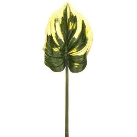 Grande Hoja de Hosta, 80 cm x 23 cm - amarillo/verde