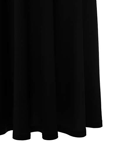 YOYAKER Damen Elagant Vintage Mit Spitzen Rundhals Kurzarm Cocktail Rockabilly Abendkleid Black XS - 6