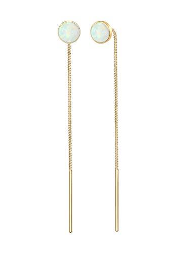 Elli Ohrringe Damen Hänger Opal Trend Durchziehen in 925 Sterling Silber vergoldet