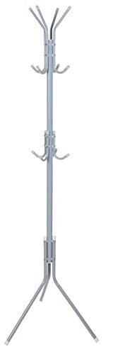Koopp Metall Garderobenständer & Hut Ständer & Tasche Haken 12 Haken Schwarz Silber oder Weiss - Silbern (Tasche-ständer Metall)