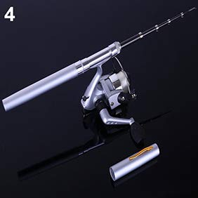 ZqiroLt Kugelschreiber, Teleskopische Mini-Stiftform, tragbar, Taschenfisch Spinnrute mit Angelrolle weiß