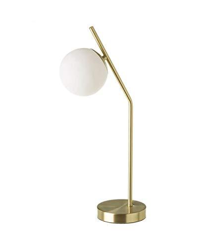 Lámpara de mesa retro de metal dorado y globo de cristal blanco ...