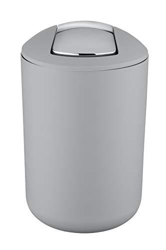 Wenko 22250100 Kosmetikeimer Brasil L absolut bruchsicher Fassungsvermögen 6,5 L, Thermoplastischer Kunststoff TPE, grau, 19,5 x 19,5 x 31 cm - 2