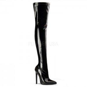 Pleaser High Heel Stiefel Overknees SEXY-3000 Lacklederlook Schwarz, Größe F:7 US / 37 -