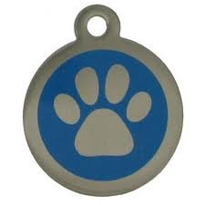 DOG/PET TAG DESIGN 25mm Stainless Steel Paw BLUE Engraved from Melian - MESSAGE US WITH WORDING REQUIRED * FREE POST * by Melian