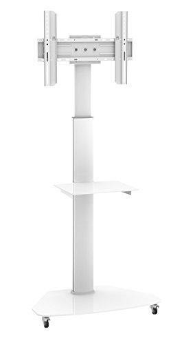 Dynamic Wave MoTV-700 LED TV Ständer mobiler TV Standfuss höhenverstellbar weiss, bis 180cm Diagonale,max 1,8m hoch rotierbar um 90 Grad auch 37 42 47 55 und 63 Zoll für Samsung Philips Parkett Rollen