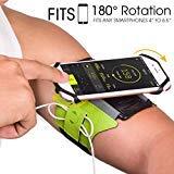 Brazalete deportivo Teléfono móvil para iPhone X/8 /7 Plus/6s,Samsung Galaxy S9/S8 Plus,180°rotación liberal VUP - Verde