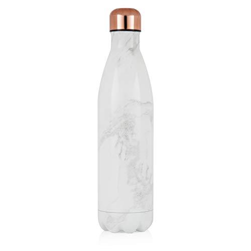 Tower Sportflasche, 750 ml, vakuumisoliert, Weißer Marmor und Roségold, groß (Kalte Getränke Tower)