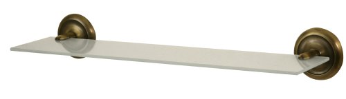 Bisk 00401 Deco Regal aus mattiertem Glas, 14,5 x 50,5 x 7,5 cm, Halterung in Messing-Antik-Optik -