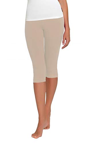 FUNGO Leggings Für Damen 3/4 Länge Capri Damen Sporthose Bunte Yoga Leggins (40, Beige) (Frauen Für Fashion Leggings Capri)