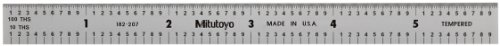 Mitutoyo 182-207, Steel Rule, 6 X 150mm, (1/10, 1/100, 1mm, 1/2mm), 1/64 Thick X 1/2 Wide, Satin Chrome Finish Tempered Stainless Steel by Mitutoyo
