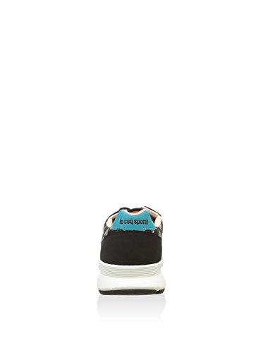 Le Coq Sportif Omega X W Bird of Paradise, Baskets Basses Femme Noir, rose pâle et turquoise