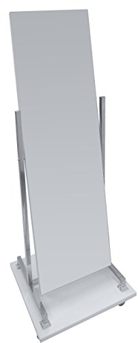 Standspiegel Rollspiegel mit Holzsockel, Schwenk- und Rollbar, beidseitig, verchromtes Gestell | Garderobenspiegel Anprobespiegel Therapiespiegel (Lichtgrau)