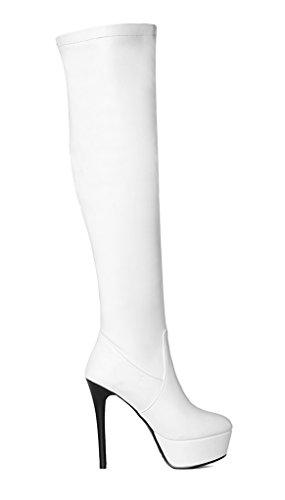 YE Damen Elegant High Heels Plateau Overknee Stiefel Kniehoch Boots mit 13 Absatz Winter Party Schuhe Weiß