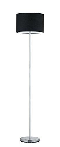 Trio Leuchten Stehleuchte, nickel matt, Stoffschirm schwarz 401100102 (Stehlampe Stoffschirm Schwarze)