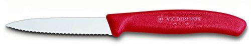 Victorinox Küchenmesser 8cm Swiss Classic (Extra scharfer Wellenschliff, Ergonomischer Griff, Spülmaschinengeeignet) rot
