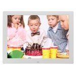 14 inch LED Display Multi-media Digital Photo Frame with Holder & Music & Movie Player, Support USB / SD / MS / MMC Card Input(White)