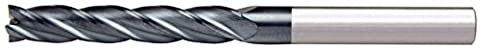 Alfa Tools SCL60659AL 3/8X3/8 4 Flute Single End Center Cutting Long AlTiN Carbide End Mill Made In USA,